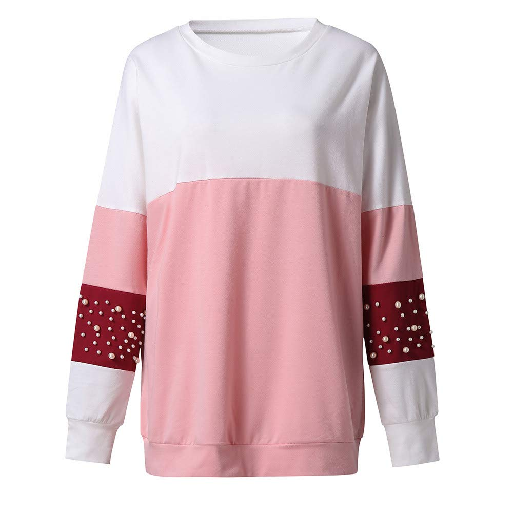 KaiCran Womens Plus Size Tops Round Neck Splice Long Sleeve Loose Blouses with Pearl