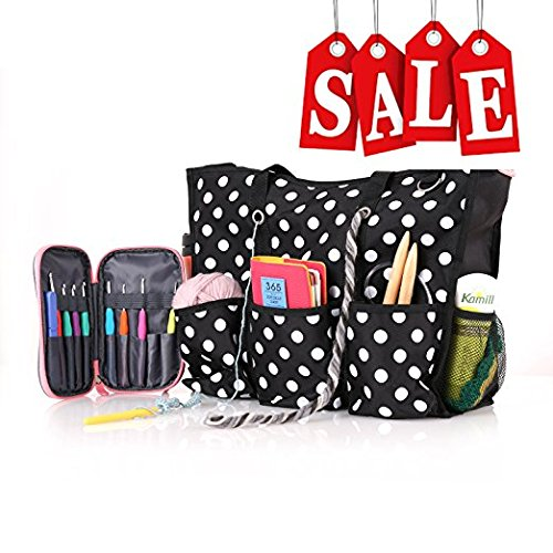 ROSEMARY Zip Top Utility Tote Bag – Knitting Yarn Organizer and/or Diaper (Craft Tote Bag)