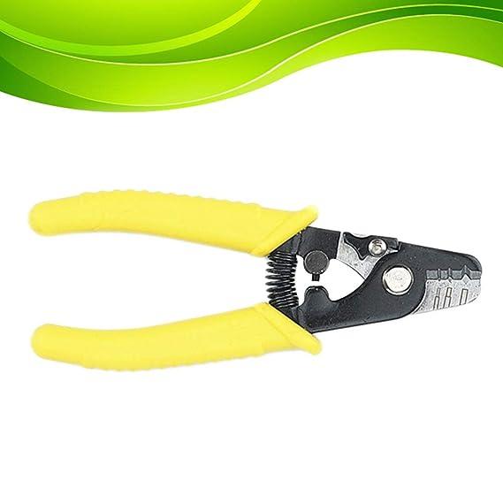 Hemobllo Cable Pelacables Alicates de Corte de Alambre Fibra óptica de 3 Orificios con Mango Suave (Amarillo): Amazon.es: Hogar