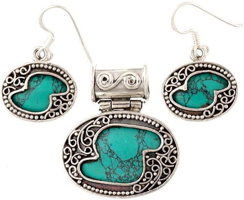 Spider's Web Turquoise Pendant with Earrings Set - Sterling Silver ()