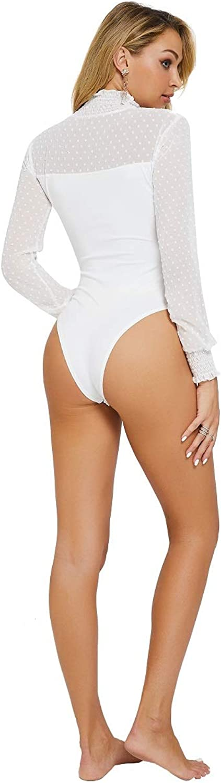 BEEY Womens Sheer Mesh Lace Long Sleeve Bodysuits Leotard Clubwear