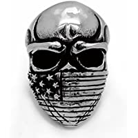 Elfasio Men's Stainless Steel Ring Band American Flag Mask Skull Gothic Biker Jewelry(size 8 to 13)