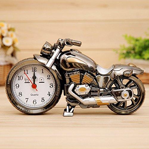 EgoEra Kreativ Motorrad-Form Digital-Wecker, Geburtstagsgeschenk für Freund , Home Office Regal Dekoration, Kinder Erwachsene Geburtstagskinder Geschenk. (Braun 1)