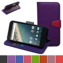Nexus 5 5X 2nd Gen Case,Mama Mouth [Stand View] Flip Premium PU Leather Stand [Wallet Case] With Built-in ID Credit Card / Cash Slots Cover For LG Nexus 5 5X 2nd Generation 2015,Purple