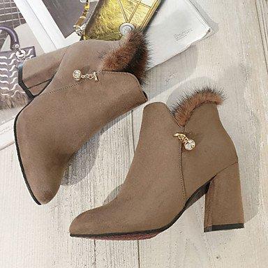 Wsx & Plm Womens-tobillera Boots-office Y Trabajo Formal Informal-otros Cómoda-square-suede-black Brown, Us8 / Eu39 / Uk6 / Cn39