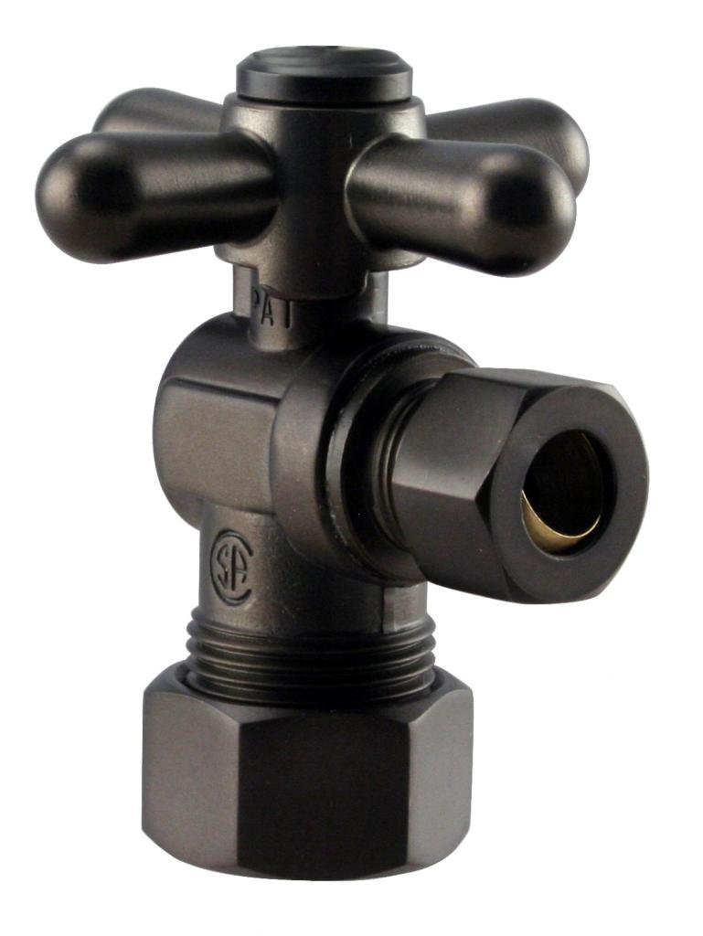 Westbrass 1/4-Turn Cross Handle Angle Stop, 5/8'' OD x 3/8'' OD, Oil Rubbed Bronze, D105BX-12