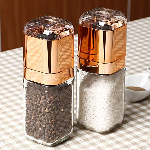 Salt And Pepper Mill - Portable Manual Salt And Pepper Mill Glass Bottle Spice Seasoning Grinder Muller Shaker Grinding - Choice Salt Gold Electric Wood Handle Rechargable Made Battery Marble