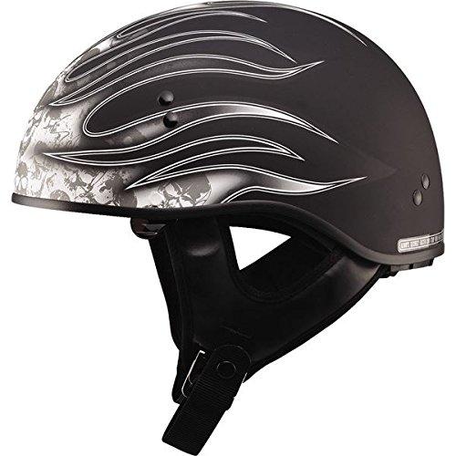 Gmax GM65 Skull Flame Naked Half Helmet (Flat Black/White, X-Large)