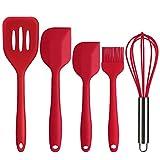 Deik Premium Silicone Kitchen Utensils Set, 5 piece of Hygienic Non-stick Durable and High Temp Cooking Utensils