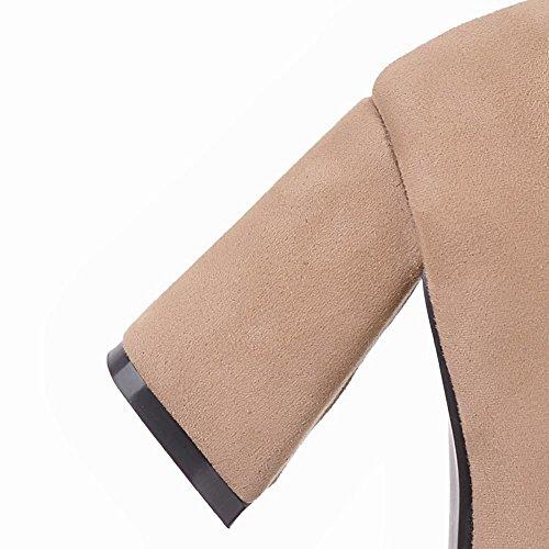 Mee Shoes Damen Blockabsatz Reißverschluss langschaft Stiefel Beige