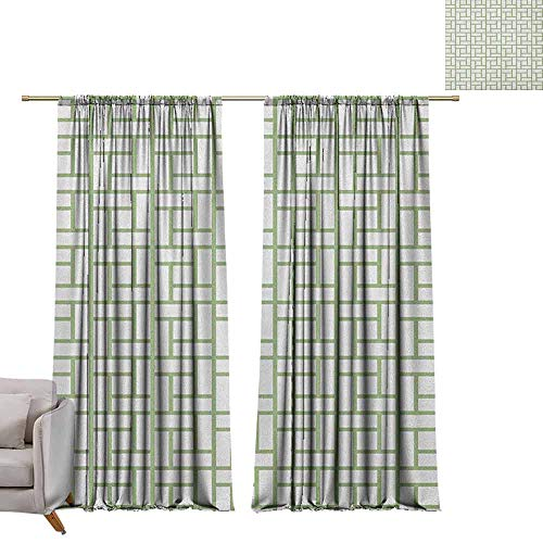 - berrly Drapes Green,Maze Shaped Squares Rectangulars Geometrical Lines Modern Image Print, Pistachio Green and White W84 x L84 Drapes for Living Room