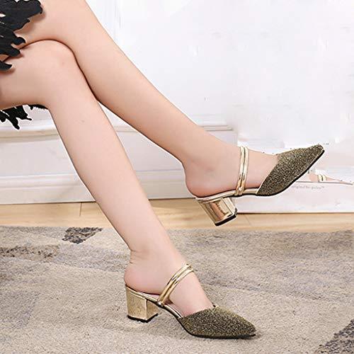 Zapatos En Las Dorado Punta Elegantes Tacón Planas Mujeres De Lentejuelas Casual Alto Mujer Zapatillas Frauit Sandalias qXzf0x1X