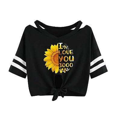 295b222db4ff Amazon.com: Women Pineapple Print Crop Top Short Sleeve Blouse ...