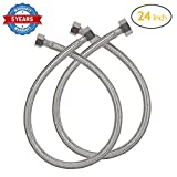 HOMEIDEAS 24-Inch Faucet Connector Braided Stainless Steel Supply Hose 3/8'' Compression Female Thread x 1/2'' I.P. Female Straight Thread Faucet Hose Replacement Pack of 2(1 Pair)