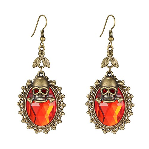 Halloween Costumes Jewelry (iWenSheng Halloween Skull Crystal Oval Drop Earrings for Women and Girls Gothic Punk Style (Red))