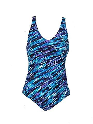 Speedo Women's Ultraback Racerback Athletic Training One Piece Swimsuit, 8 - Blue