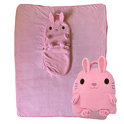 (2 in 1 Bunny Pillow Blanket. Zip Up for A Huggable Animal Pillow. Unzip to Reveal an Extra Large 40 x 50 Inch Soft Fleece Blanket. Ideal for School, Camping, Sleepover, Daycare and Travel. (Bunny))
