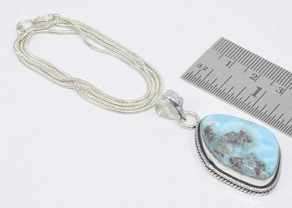 21.8 INCH VICTORIANJEWELS 925 Silver Plated Natural Blue LARIMAR Chain Pendant