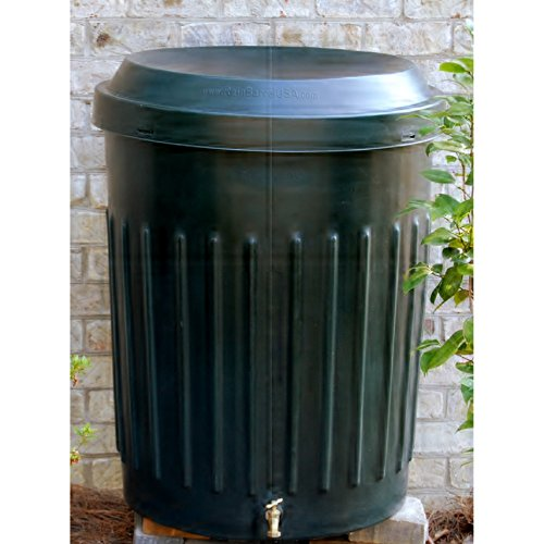 80 Gallon Modern Rain Barrel with Solid Brass Faucet and Removable Debris Screen Made with Plastic in Dark Green (Water Barrel Plastic Faucet)