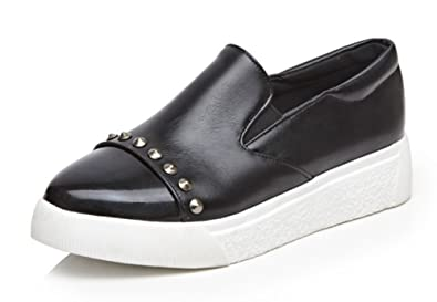 0ee929e969d Aisun Women s Casual Stylish Studded Pointed Toe Thick Sole Slip On Fashion  Sneakers Platform Low Tops