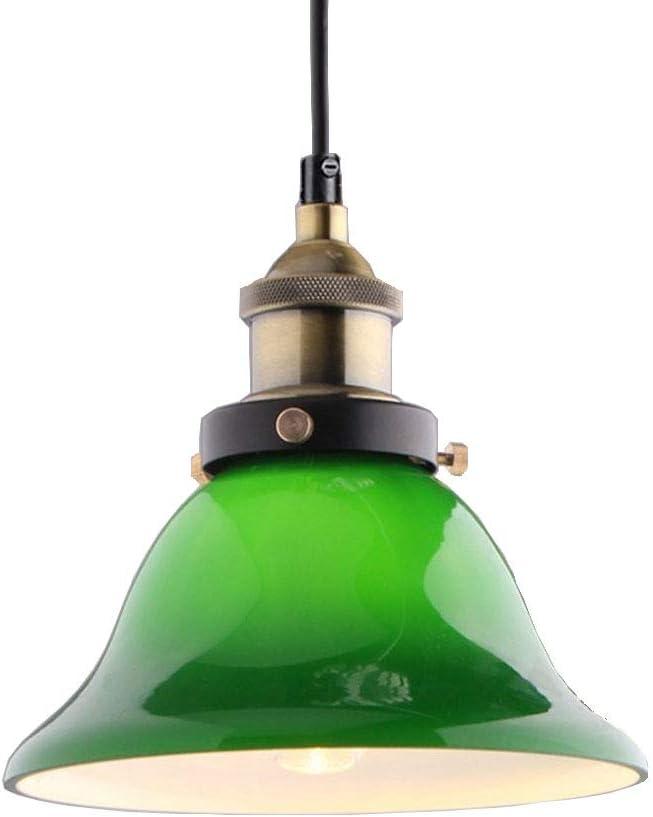 Lámpara colgante de iluminación de techo colgante vintage industrial Lámpara colgante de lámpara colgante de loft para cafetería Coffee Island con pantalla de vidrio verde de 7.87