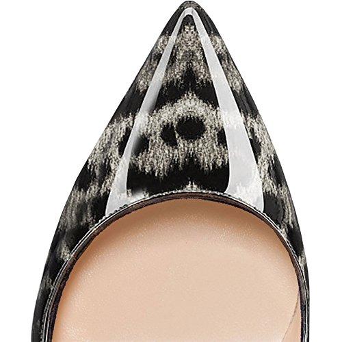 à chaussures minces escarpins tenue des pointu léopard gris talons Chaussures pour quotidienne une MERUMOTE femme à usuels bout Wn6Pwq1