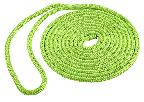Shoreline Marine Double Braid Polyester Dock Line  Neon Green  3 8 Inch X 15 Feet