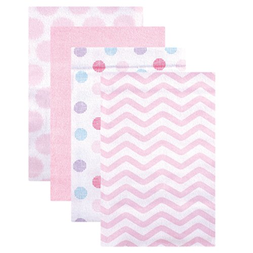 Luvable Friends Unisex Baby Cotton Flannel Receiving Blankets, Pink Dots 4-Pack, One Size