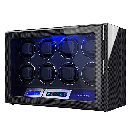 Watch Winder, Piano Finish with Adjustable [Upgraded] Watch Pillows, 8 Winding Spaces Watch Winders for Automatic Watches, Built-in Illumination (Wooden/Carbon Fiber)) (Carbon Fiber)