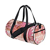 Happy Womens Day March 8 Floral Flowers Sports Gym Shoulder Handy Duffel Bags for Women Men Kids Boys Girls