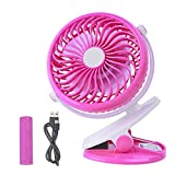 pink desk clip fan - COOLEAD Clip Battery Fan - Mini Rechargeable Battery or USB Powered, 2 in 1 Personal Fan, Colorful, Adjustable Clip Fan for Baby Stroller, Outdoor, Car, Office, Traveling. (Pink)