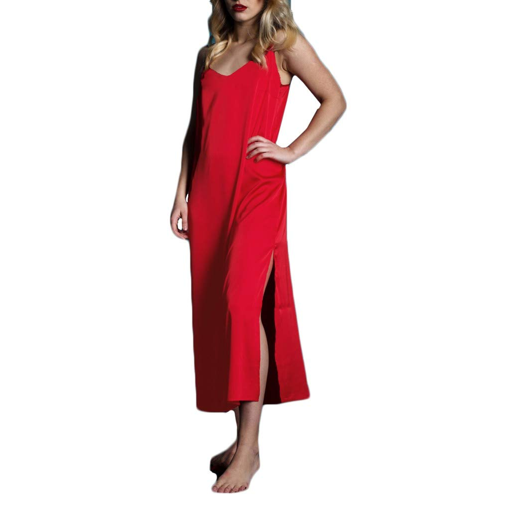 Psunrise Pijamas New Women Casual Solid Lingerie Satin Silk Slit Long Nightdress Backless Sleepwear Plus Size(2XL, Red)