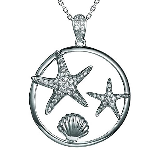 Sterling Silver Pave CZ Starfish & Sunrise Shell Necklace Pendant with 18