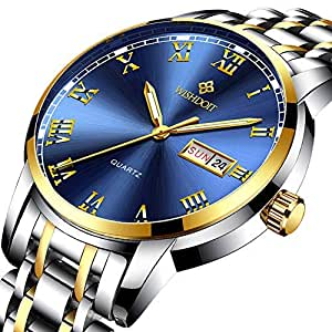 WISHDOIT Hombre Lujo Casual Impermeable Cuarzo Analógico Calendario Automatico Reloj con Moda Oro y Plata Bicolor Acero Inoxidable Pulsera 9846H