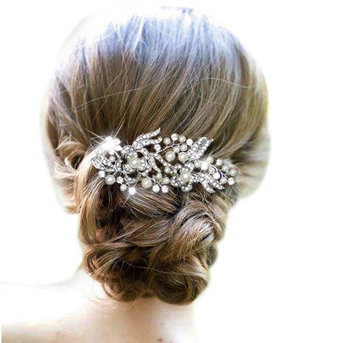 EVER FAITH Cream Simulated Pearl Austrian Crystal Bridal Flower Hair Comb