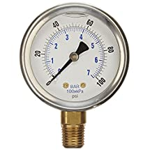 "NEW STAINLESS STEEL LIQUID FILLED PRESSURE GAUGE WOG WATER OIL GAS 0 to 100 PSI LOWER MOUNT 0-100 PSI 1/4"" NPT 2.5"" FACE DIAL FOR COMPRESSOR HYDRAULIC AIR TANK"