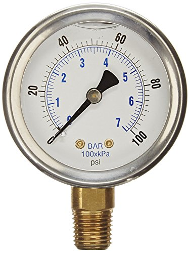 - NEW STAINLESS STEEL LIQUID FILLED PRESSURE GAUGE WOG WATER OIL GAS 0 to 100 PSI LOWER MOUNT 0-100 PSI 1/4