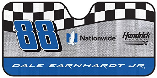 NASCAR Dale Earnhardt Jr. 88 Car Windshield Sun Shade Blocks UV Rays Sun Visor Protector, Sunshade To Keep Vehicle Cool, Easy To Use, Fits Most Cars, SUVs, Pick Up Trucks, Smaller RVs