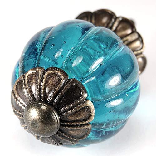 Set of 4 Turquoise Blue Glass Drawer Pulls Handles Vintage Depression Style