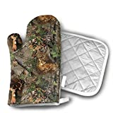 Real Tree Camo Deer Turkey Woods Set of Oven Mitt and Pot Holder, Microwave Glove Cotton High Heat Resistance Oven Mitts with Disk Pad for Kitchen Cooking Baking