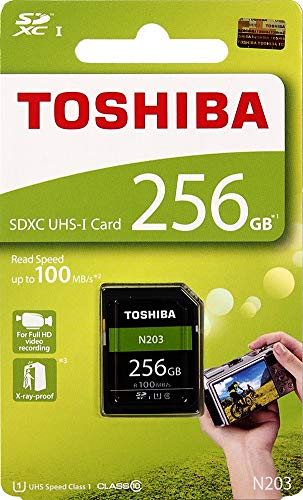 TOSHIBA SD Card Memory Card 256GB N203 SDXC UHS-I Card U1 Class 10 100MB/s Made in Japan (THN-N203N2560A4)