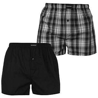 8627fb5830c65e Kangol Mens Woven Boxer Shorts Pack Of 2 Trunks Underwear Accessories Black/Grey  XL: Amazon.co.uk: Clothing