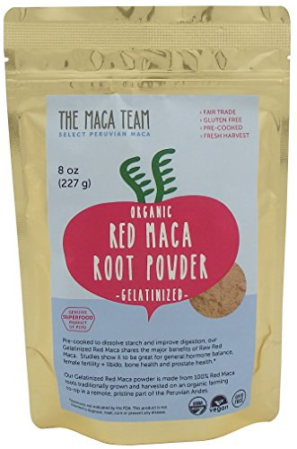 Gelatinized Maca Root (Gelatinized Red Maca Root Powder - Certified Organic, Fair Trade, Gmo-free, Fresh Harvest From Peru, Gluten Free Vegan and Pre-cooked - 8 Oz, 25 Servings)