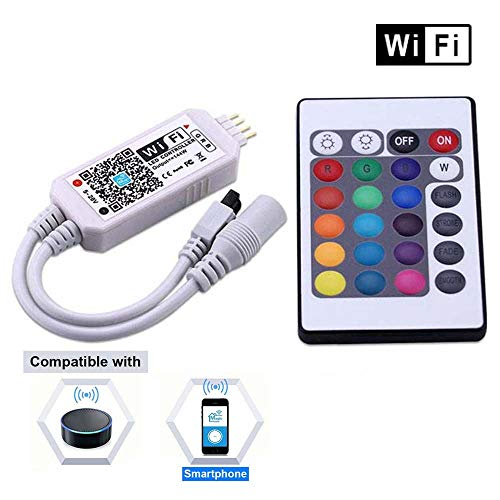 Miheal WiFi Wireless LED Smart Controller Compatible with Android and iOS System Mobile Phone Free App for RGB LED Light Strips 5050 3528 LEDs 5V to 28V DC 4A Comes with One 24 Keys Remote Control