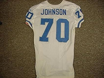 Amazon.com  Andre Johnson Detroit Lions White Reebok Game Worn ... b8cc09b72