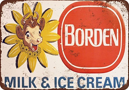 Borden Milk and Ice Cream Vintage Look Reproduction Metal Tin Sign 12X18 - Ice Vintage Signs Cream