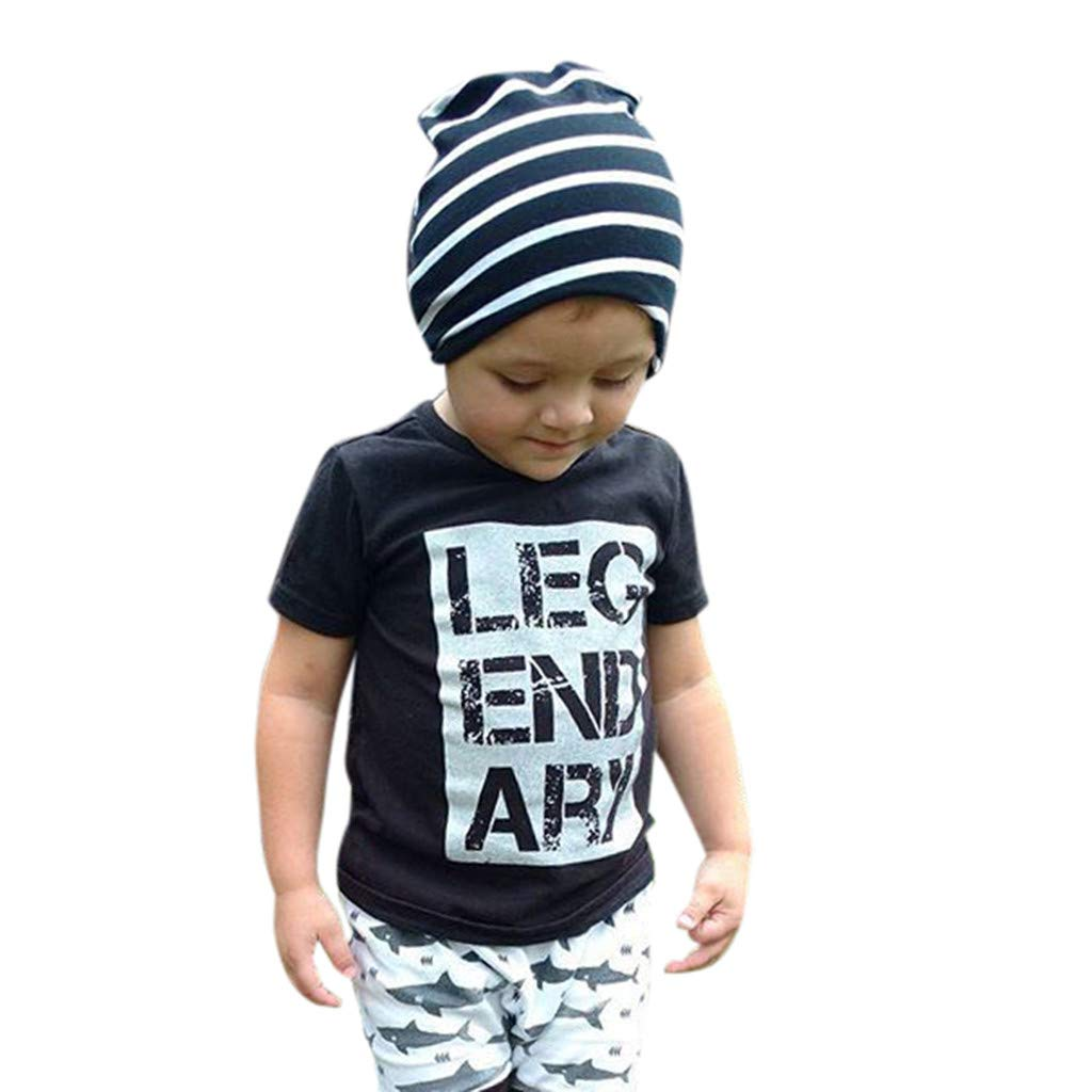 Midress Clothes Letter Print T-Shirt+Fish Shorts Pants Set Toddler Kids Baby Boy Outfits (4-5 Years, Black)