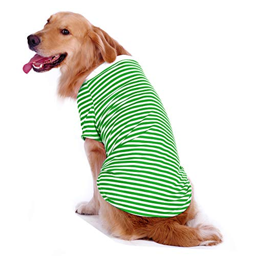 Dog Striped T-Shirt for Medium Large Dogs,Golden Retriever Shirt,Breathable Cotton Dog Clothing(Green&White,L)