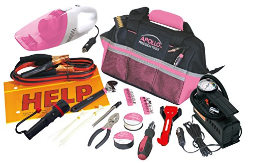 Apollo Precision Tools DT0515P Roadside Tool Set, Pink, 54-Piece, Donation Made to Breast Cancer Research (Set Tool Breast Cancer)
