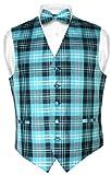 Men's Plaid Design Dress Vest & BOWTie Black Turquoise White BOW Tie Set Medium